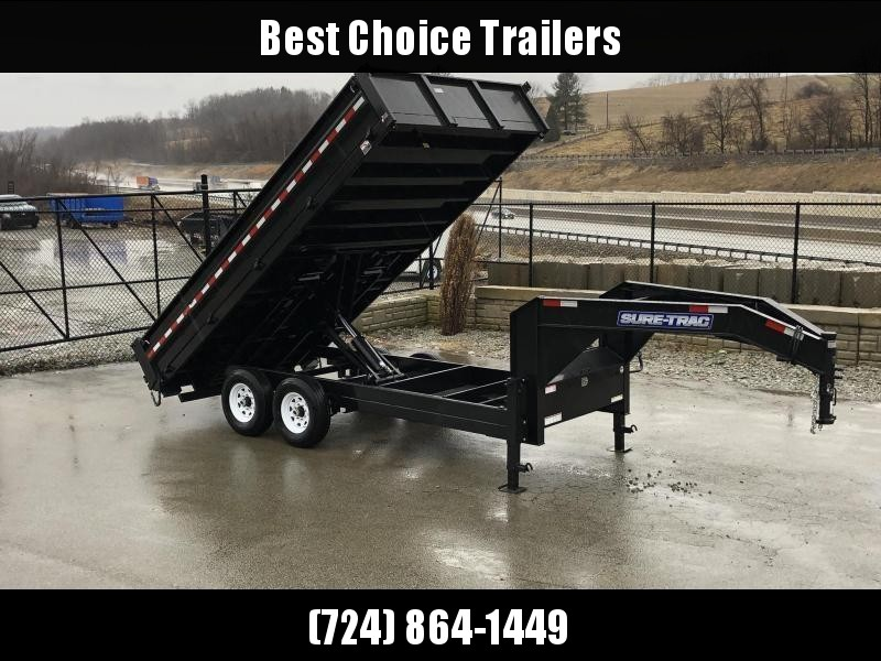 2021 Sure-Trac 8x16' HD Gooseneck Deckover Dump Trailer 14000# GVW * FOLD DOWN SIDES * I-BEAM NECK * FULL TOOLBOX