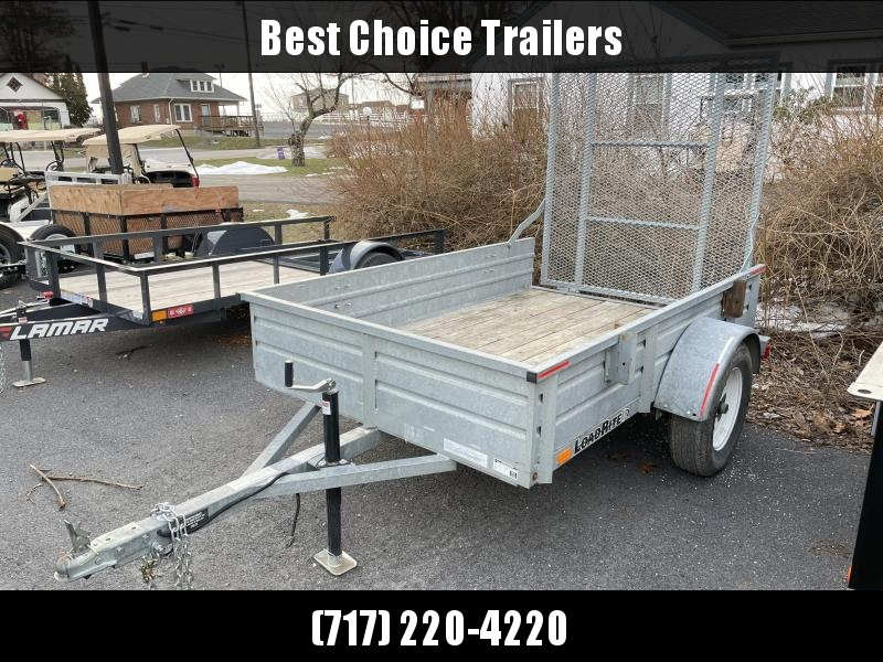 USED Load Rite 5x8' Galvanized Utility Landscape Trailer 2990 GVW * GALVANIZED * SOLID SIDES