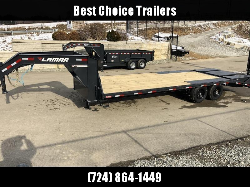 "2020 Lamar 102x23+5' HD Gooseneck Beavertail Deckover Trailer 14000# GVW * 12"" I-BEAM FRAME * FRONT TOOLBOX * DUAL JACKS * SPARE TIRE * FLIPOVER RAMPS"