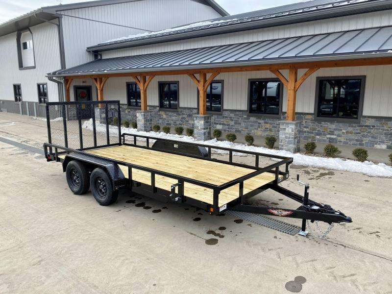 "2021 H&H 7x16' Tube Top Utility Landscape Trailer 7000# GVW * 2"" TUBE TOP RAIL * 2X2"" TUBE GATE C/M + SPRING ASSIST + FOLD FLAT * TOOLESS GATE REMOVAL * SPARE MOUNT * SET BACK JACK * STAKE POCKETS * BULLET LED"