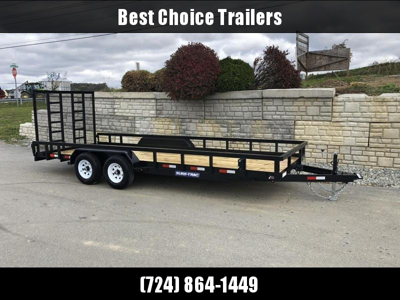 "2021 Sure-Trac 7x20 Tube Top Utility Landscape Trailer 9900# GVW * PROFESSIONAL LANDSCAPE SERIES * HD REINFORCED GATE+SPRING ASSIST * 5"" TONGUE & FRAME * 7K JACK * 2X3"" TUBE TOP RAIL * SPARE MOUNT * PROTECTED WIRING * TRIPLE TONGUE * STAKE POCKE"