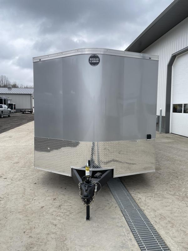 2021 Wells Cargo 8.5x24' Enclosed Race Car Hauler Trailer 9990# GVW * SILVER EXTERIOR * FINISHED FLOOR/WALLS/CEILING * BASE/OVERHEAD CABINETS * ELECTRIC PKG