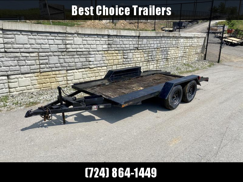 USED Econohome 7x16' Open Deck Car Trailer 6000# GVW * SLIDE OUT RAMPS * WINCH RECIEVER
