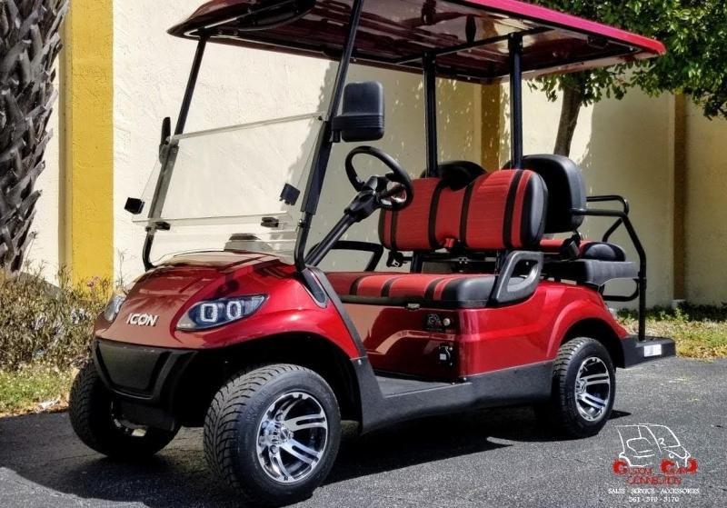 2021 ICON i40 Burgundy Golf Cart Electric Vehicle