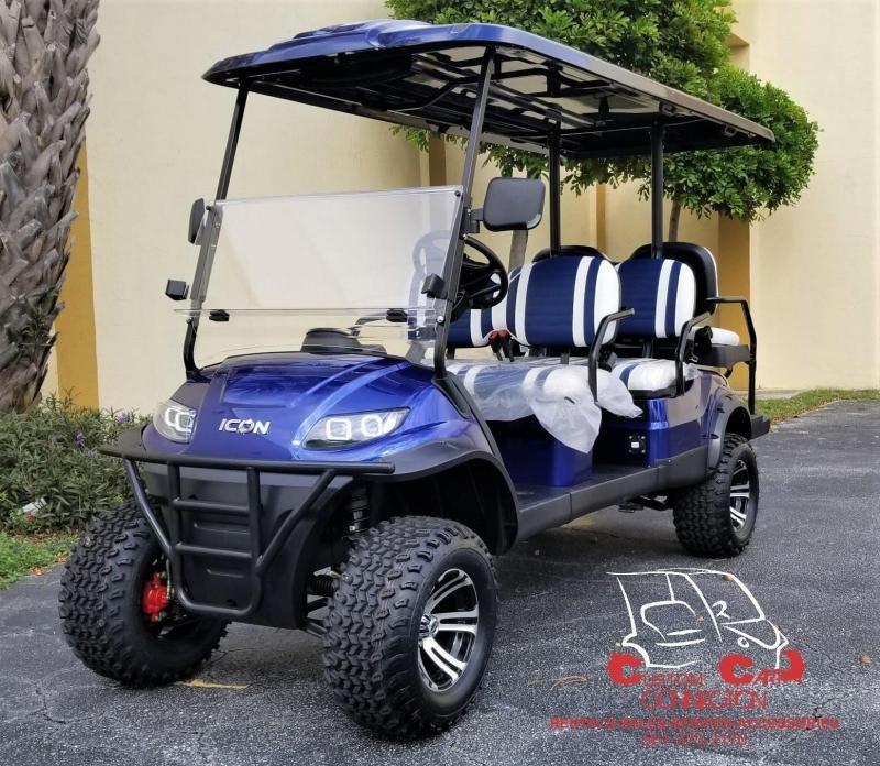 2021 ICON i60L Indigo Blue Lifted 6 Passenger Golf Cart
