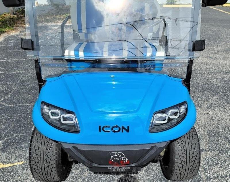 2021 ICON i60 Caribbean Blue 6 Passenger Golf Cart