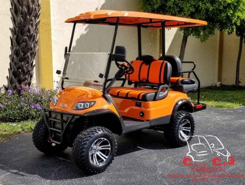 2021 ICON i40L Orange Lifted Golf Cart