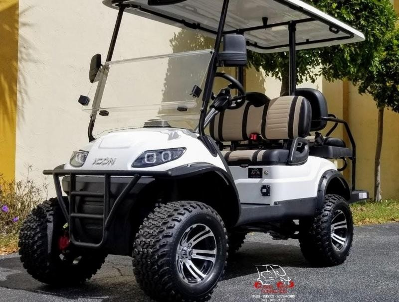 2021 ICON i40L White Golf Cart Electric Vehicle