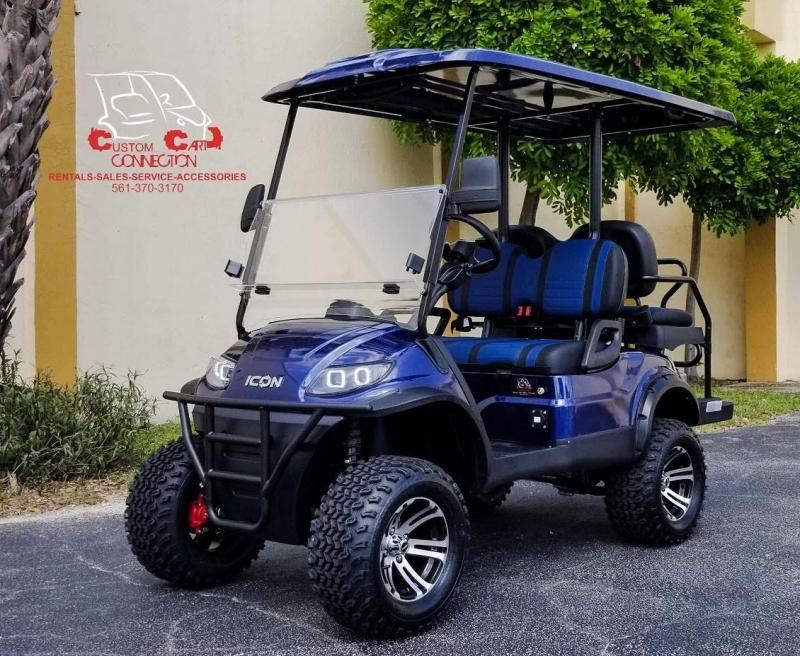 2021 ICON i40L Indigo Blue Golf Cart Electric Vehicle