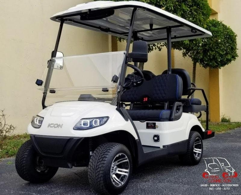 2021 ICON i40 White w/Custom Seats Golf Cart Electric Vehicle