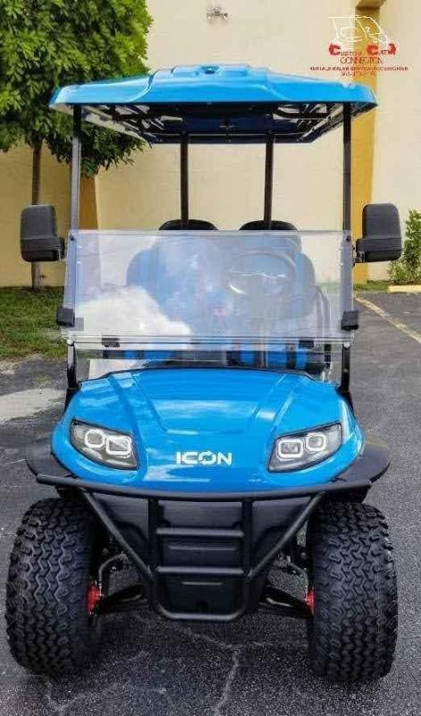 2021 ICON i60L Caribbean Blue Lifted Golf Cart Electric Vehicle