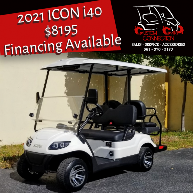 2021 ICON i40 White Golf Cart Electric Vehicles