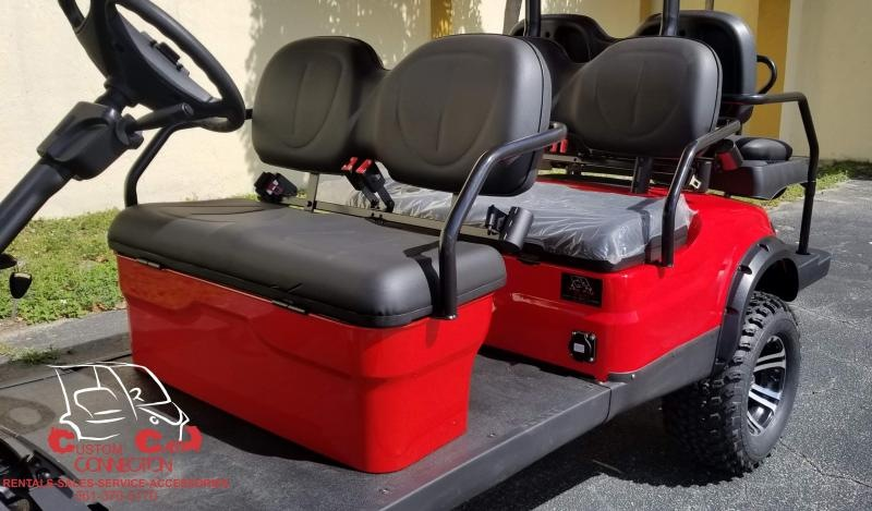 2021 ICON i60L Red 6 Passenger Lifted Golf Cart Electric Vehicle