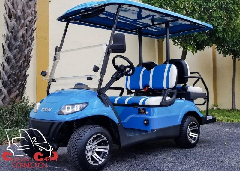2021 ICON i40 Caribben Blue Golf Cart Electric Vehicle
