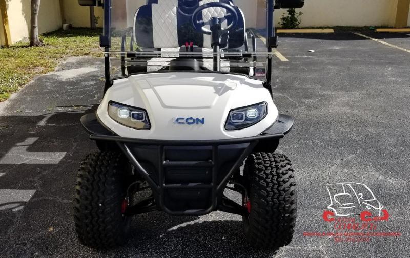 2020 ICON i60L White 6 Passenger Golf Cart w/Custom Black & White Seats