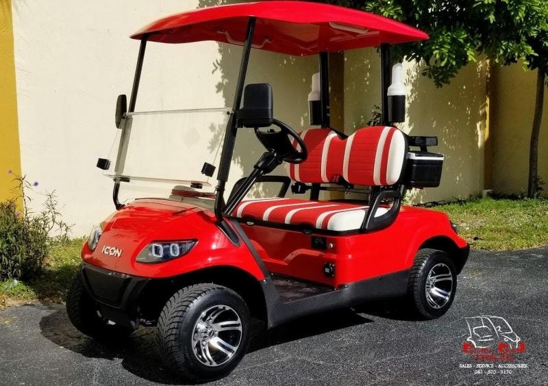 2021 ICON i20 Red Golf Cart w/Bag Attachments