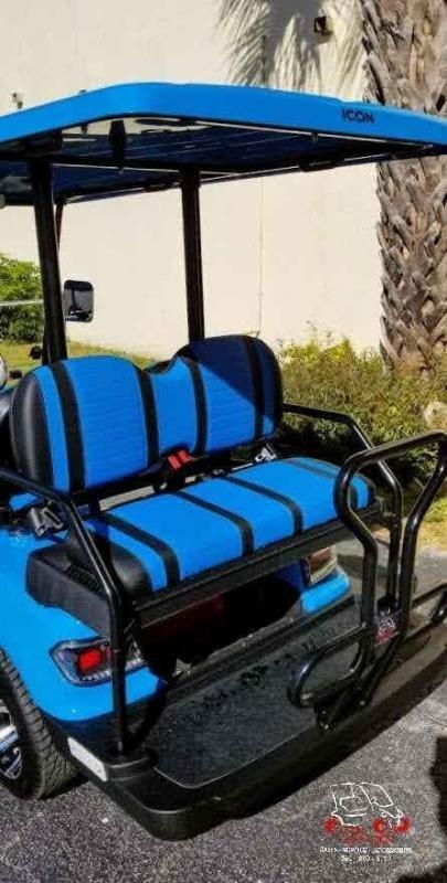 2021 ICON i40 Caribbean Blue Golf Cart 4 Passenger