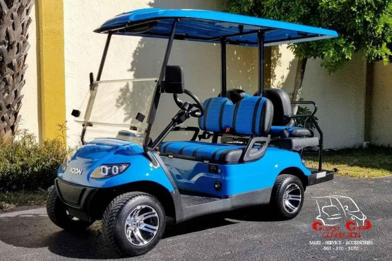 2021 ICON i40 Caribbean Blue Golf Cart 4 Passenger