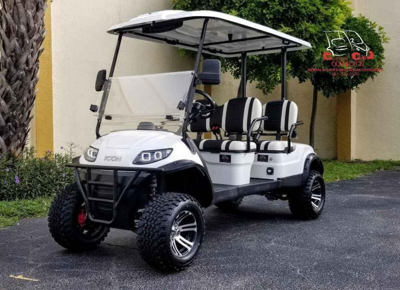 2021 ICON i40FL White 4 Passenger Lifted Golf Cart
