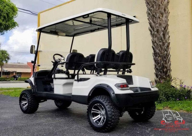 2021 ICON i40FL White 4 Passenger Lifted Golf Cart
