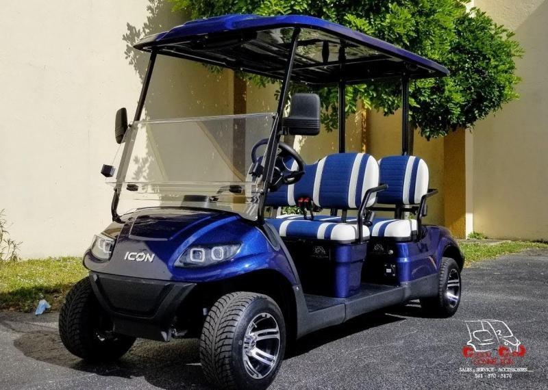 2021 ICON i40F Indigo Blue Golf Cart w/4 Forward Facing Seats