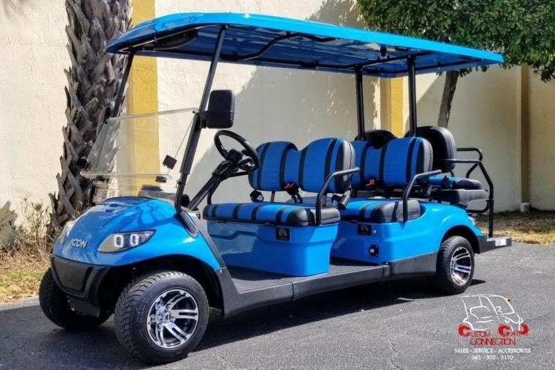 2021 ICON i60 Caribbean Blue 6 Passenger Golf Cart