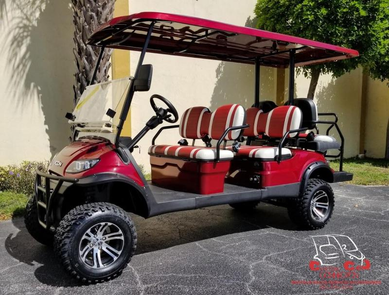 2020 ICON i60L Sangria Red 6 Passenger Lifted Golf Cart