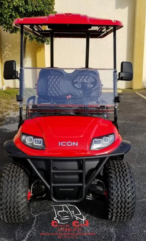 2021 ICON i40L Red Golf Cart w/Custom Red & Black Seats