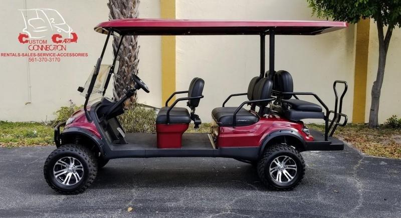 2020 ICON i60L Sangria Red Golf Cart w/Black Seats 6 Passenger
