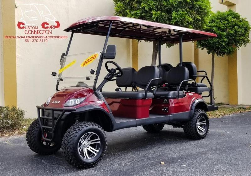 2021 ICON i60L Sangria Red Golf Cart w/Black Seats 6 Passenger