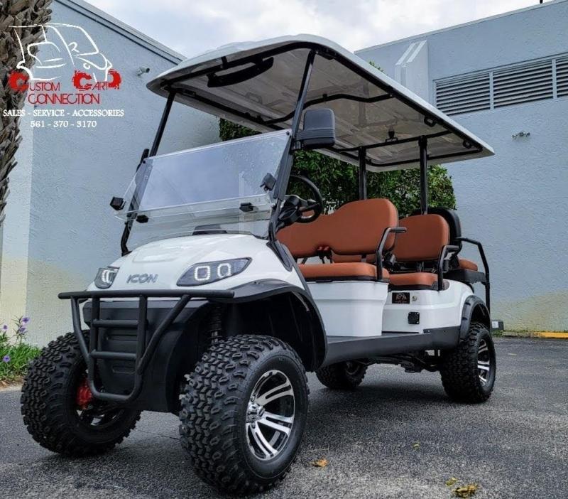 2021 ICON i60L White 6 Passenger Golf Cart Electric Vehicle