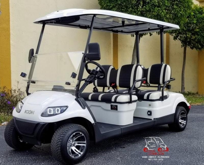 2021 ICON i40F White 4 Passenger Golf Cart Electric Vehicle