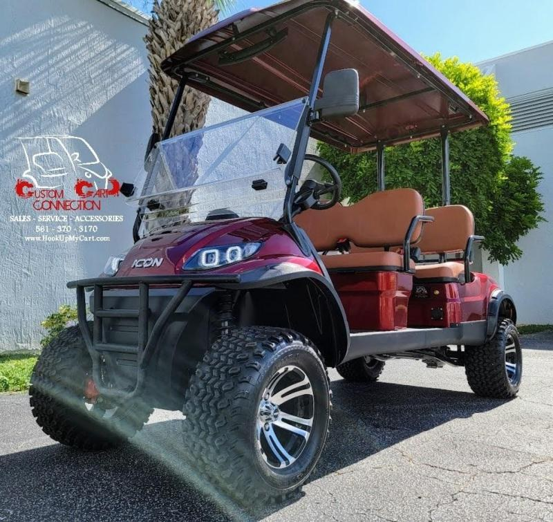 2021 ICON i40FL Sangria Red Golf Cart Electric Vehicles
