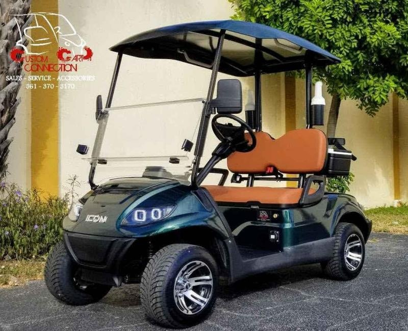 2021 ICON i20 Forest Green Golf Cart w/Bag Attachments