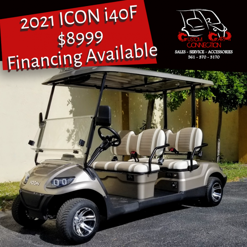 2021 ICON i40F Champagne Metallic Golf Cart w/4 forwad facing seats