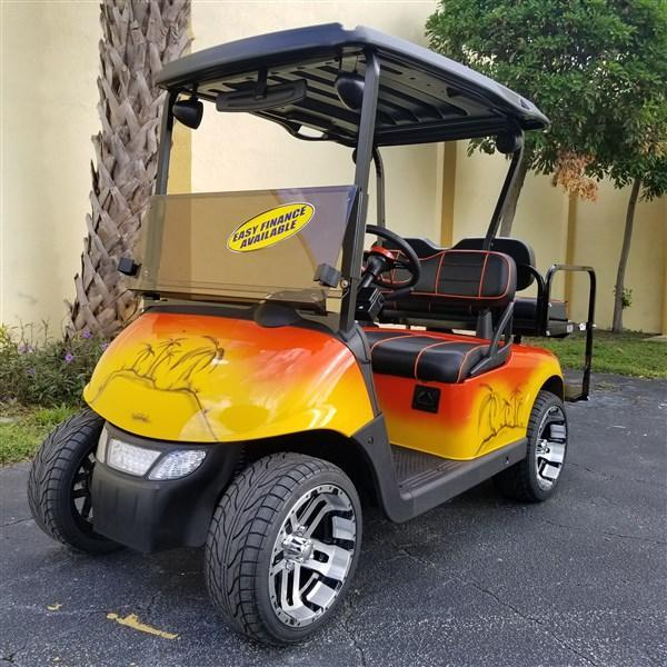 2014 E-Z-GO RXV ELECTRIC TROPICAL THEMED HIGH SPEED CODE 23 MPH 14 RIMS BLUETOOTH RADIO