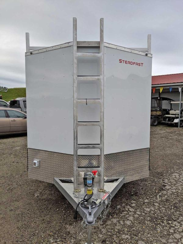 NEW 2020 Steadfast 7x16 JST Diamond Series Sloped V-Nose Contractor Trailer w/ Rear Barns Doors