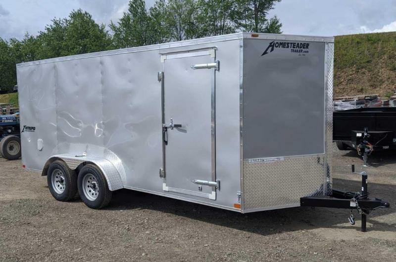 NEW 2021 Homesteader 7x16 Intrepid V-Nose Cargo Trailer w/ Ramp Door (Extended Wood Flap)