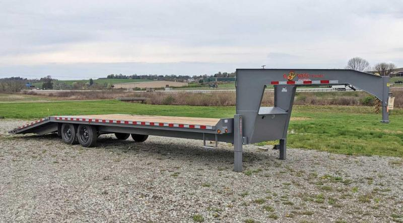 NEW 2021 BWise 30' Deckover Gooseneck Trailer w/ 8' Hydraulic Dove Tail