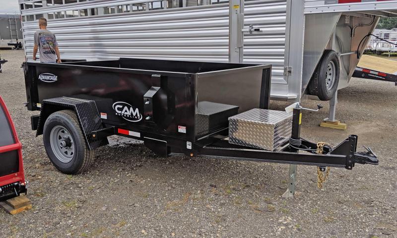 """NEW 2021 CAM """"Advantage"""" 5x8 Lo Pro Dump Trailer w/Spare Tire Mount"""