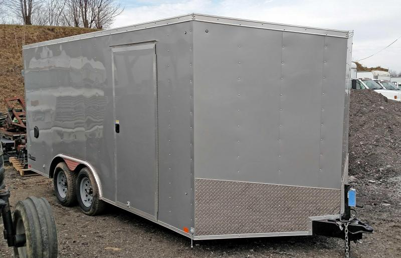 NEW 2021 Cargo Express 8.5 x 16 EX DLX Sloped V-Nose Car Hauler w Ramp Door