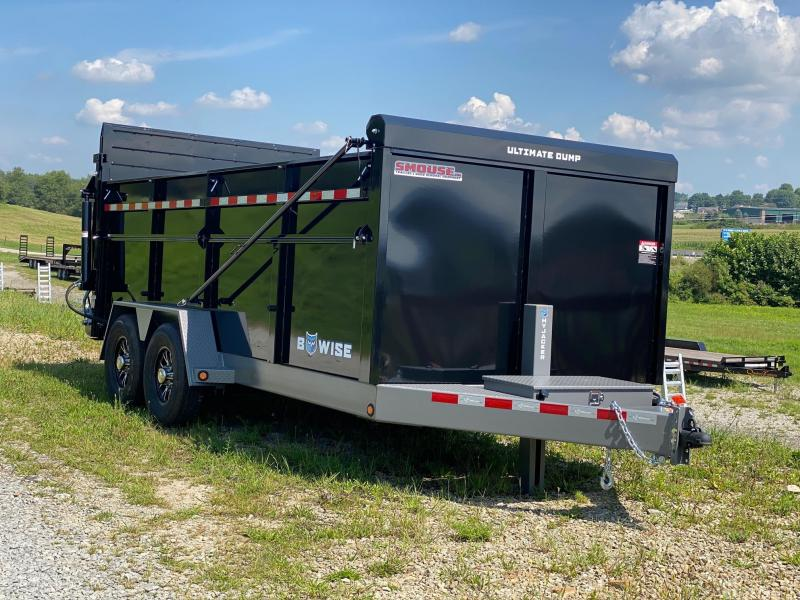 """NEW 2022 BWise 6'10"""" x 16 HD Ultimate Dump Trailer w/ Hydraulic Double Acting Gate"""