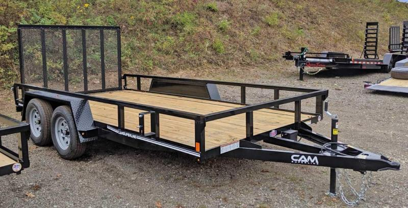 NEW 2021 CAM SUPERLINE 7x14 Tandem Axle Tubular Top Rail Powdercoated Utility Trailer