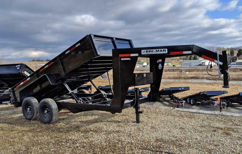 "NEW 2021 Bri-Mar 6'9"" x 14' HD Lo Pro Gooseneck Equipment Dump Trailer"