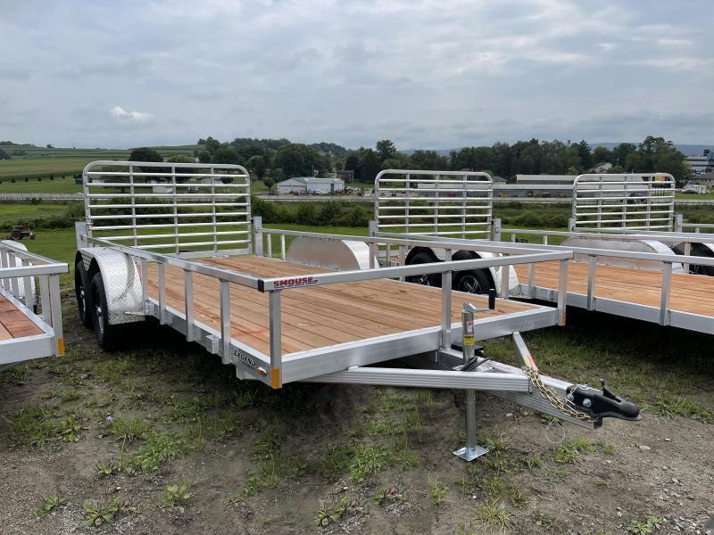 NEW 2022 Legend 7x16 Open Deluxe Aluminum Tandem  Axle Trailer w/ Gate and Aluminum Wheels