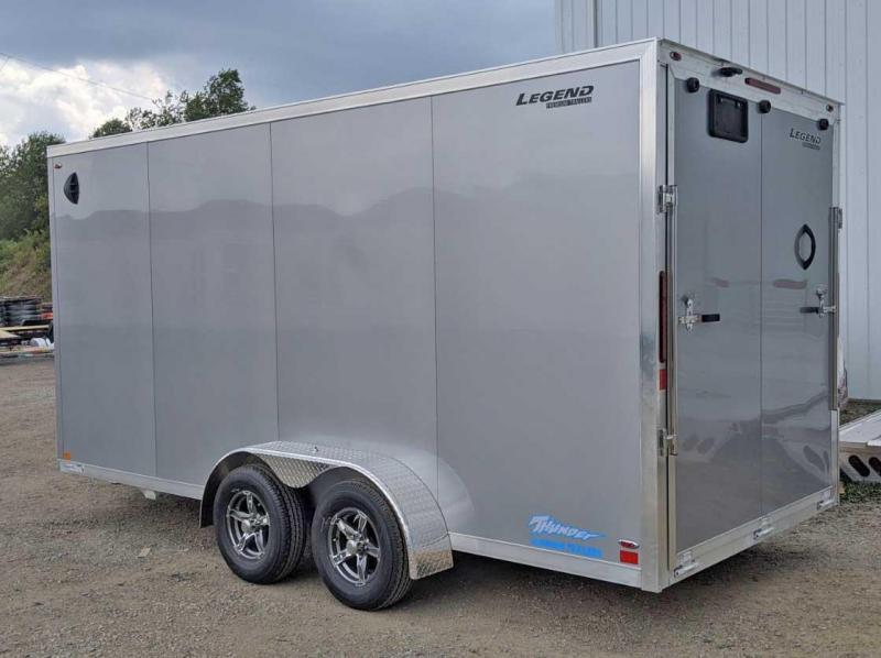 """NEW 2021 Legend 7x16 + 2' V-Nose Thunder Aluminum Cargo Trailer w/ Ramp Door (84"""" Inside)"""