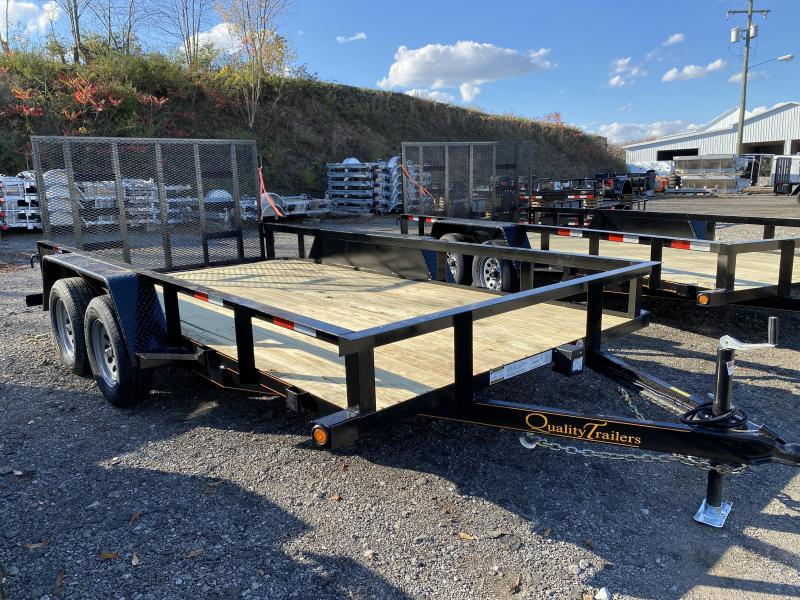 NEW 2021 Quality 7x14 Tandem General Duty Utility Trailer w/ 2' Dove