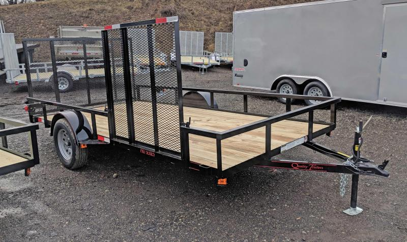 NEW 2021 Quality 7x14 PRO Utility Trailer w/ Side Gate & Spring Assist / Lay Flat Rear Gate
