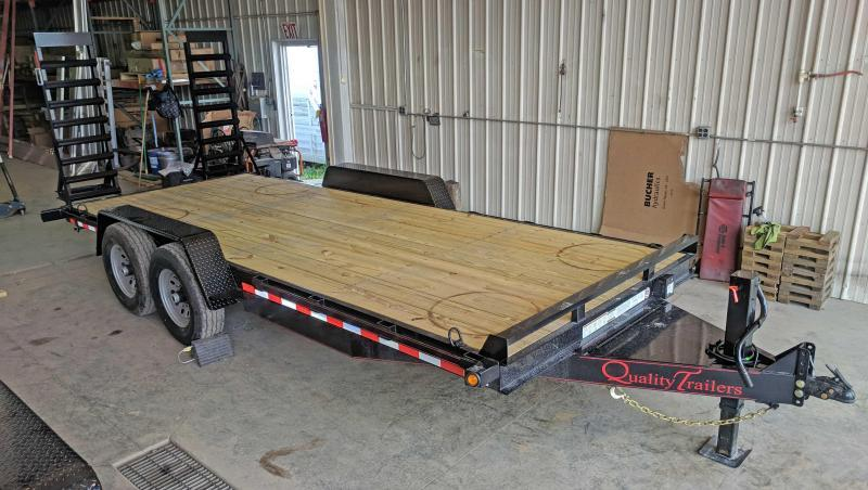 NEW 2022 Quality 18' PRO Equipment Hauler w/  5' Stand Up Ramps, No Dove Tail