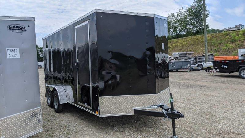 """NEW 2021 Cargo Express 7x16 EX DLX Sloped V-Nose Cargo Trailer w/ Ramp (84"""" Inside)"""